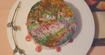 top view of cake decorated with monet painting in china