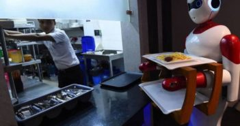 robot waiter next to kitchen at restaurant in nepal