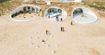 arial view of art gallery in sand dunes in china