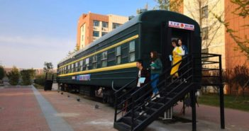 children leaving train carriage book bar in zhengzhou