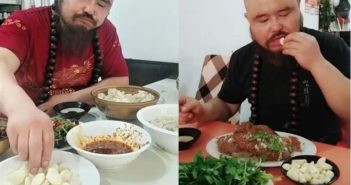 two images of man eating food in china