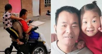 two images of paralysed man with young daughter in china