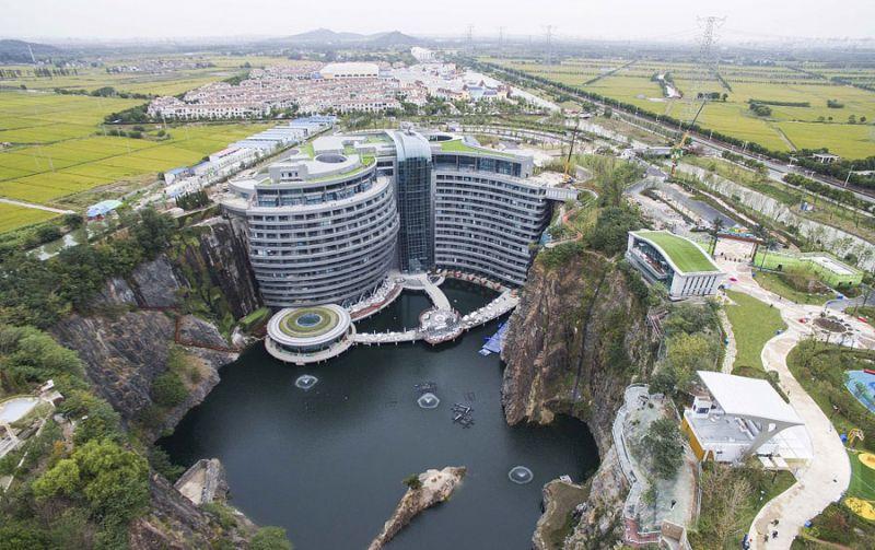 arial view of underground hotel in shanghai