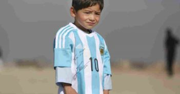 Afghanistan's Little Messi wearing argentina shirt signed by messi