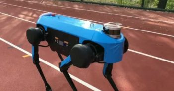 quadruped robot jueying on athletic track