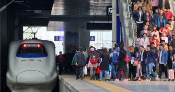 passengers on platform at station in china