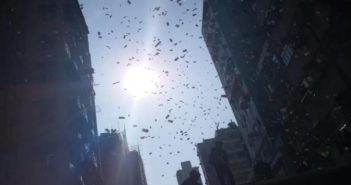 money falling from the sky in hong kong
