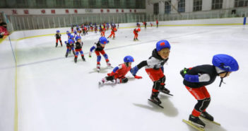 young ice skating students in china