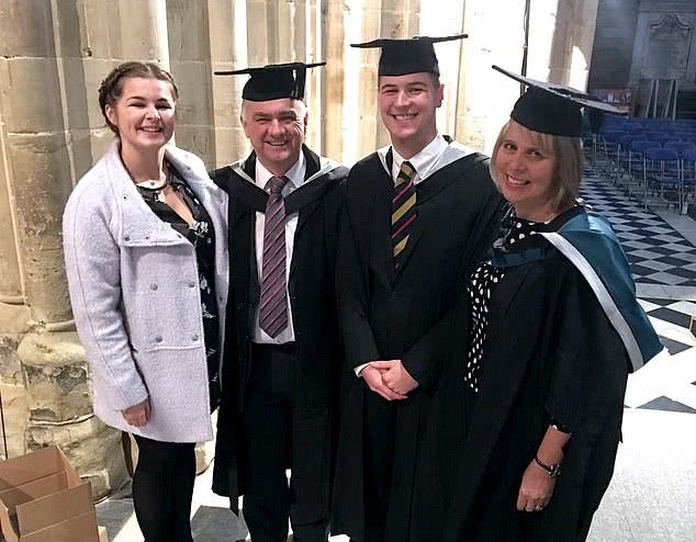 son and parents graduating together from UK university