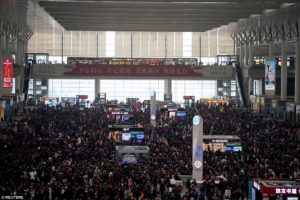 Busy train station at Chinese New Year Migration