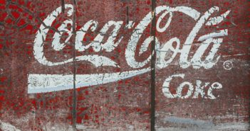coca cola logo painted on door