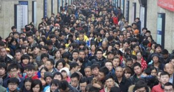 large crowd of people in china