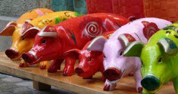 pig figurenes on display