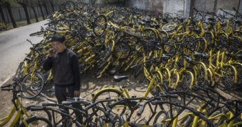 bike-sharing graveyard in China
