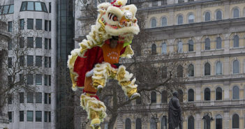 lion jumping at chinese new year event in london