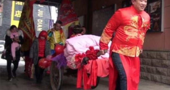groom pulling cart with bridge in china
