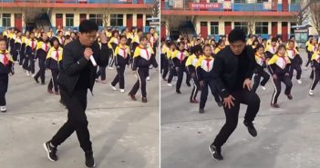 two images of headmaster in china leading school dance