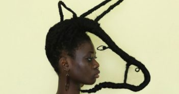 girl with hair styled as a horse