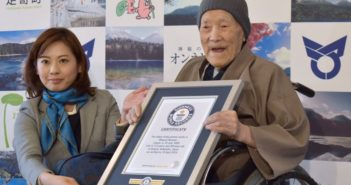 Masazo Nonaka receiving guiness world record for world's oldest man