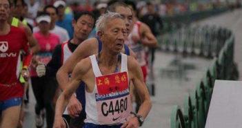 elderly man competing in marathon in china