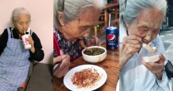 three images showing elderly lady eating and drinking in china