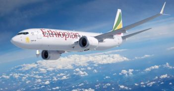 ethiopian airlines boeing 737 max 8 plane in the air