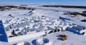 arial view of snow maze constructed in canada