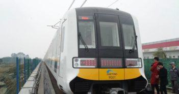 front view of driverless metro train in chengdu