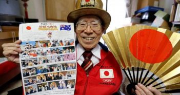 japanese uncle olympics posing for photo