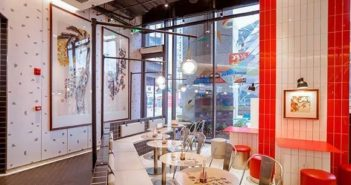 interior of du fu themed kfc restaurant in chengdu