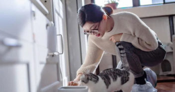 woman feeding a cat