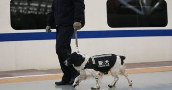 policeman walking with police dog down platform in china