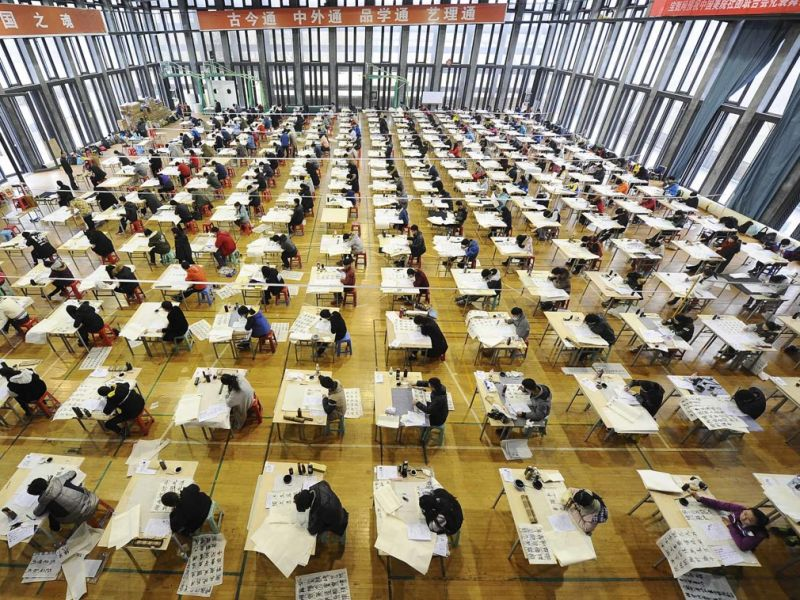 arial view of students taking gaokao in china