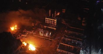 arial view of site of tianjiayi chemical plant explosion