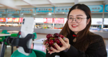girl holding cherries in front of phone during live broadcast