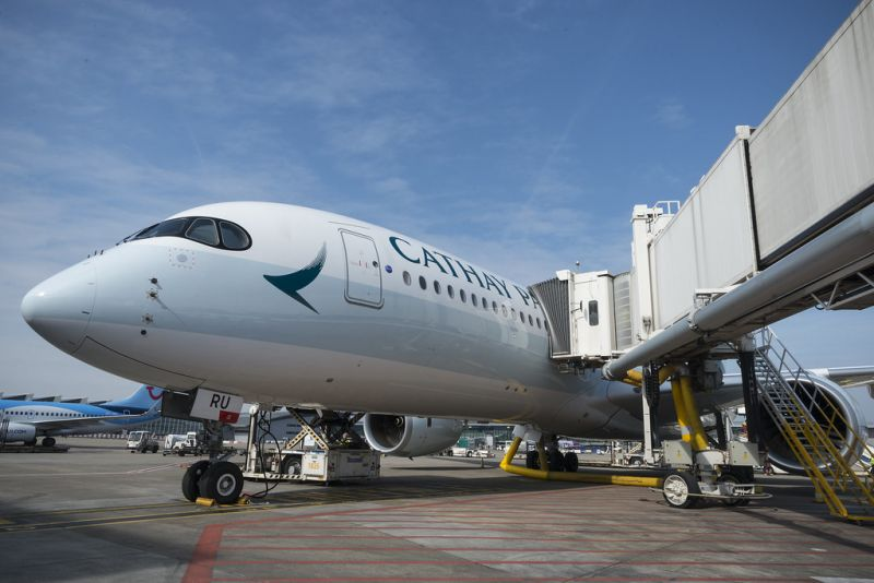 cathay pacific plane at airport