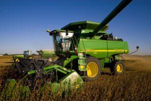 tractor harvesting crop
