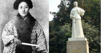 black and white photo and statue of qiu jin