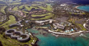 aerial view of tourist resort in hawaii