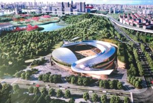 arial view of design for equestrian venue in shanghai