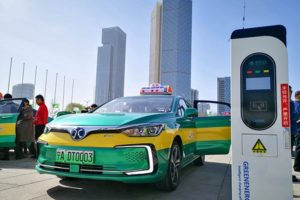 electric taxi at charging pile in ningxia
