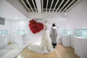 wedding dress exhibited at museum