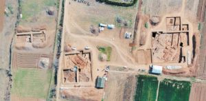 arial view of archaeological dig site at huangshan ruins in china