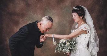 wedding photo of senior couple in china