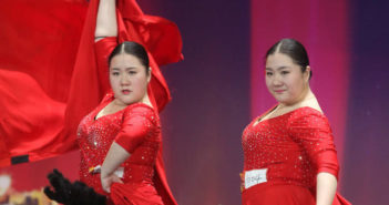 twin sisters during dance performance