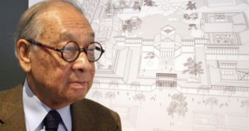 I.M. Pei in front of architectural drawing