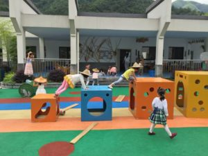 children playing at kindergarten in china