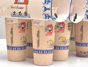 cups of white rabbit candy milk tea in china