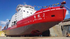 side view of icebreaker xuelong 2 on land