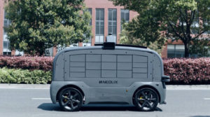 sideview of neolix self-driving truck on the road